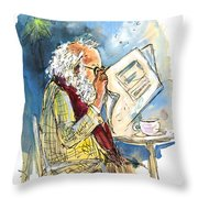 Reading The News 09 Throw Pillow