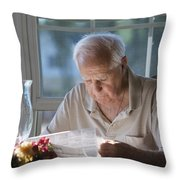 Reading The Sunday News Paper Throw Pillow