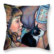 Reading To Boots Throw Pillow