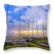 Ready For Sails Throw Pillow by Debra and Dave Vanderlaan