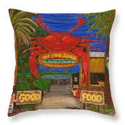 Ready For The Day At The Crab Shack Throw Pillow