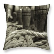 Ready For Work Black And White Sepia Throw Pillow