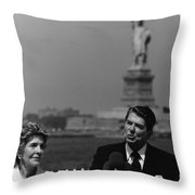 Reagan Speaking Before The Statue Of Liberty Throw Pillow