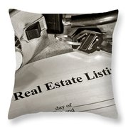 Real Estate Listing And Lock Box Throw Pillow