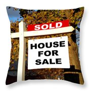 Real Estate Sold And House For Sale Sign On Post Throw Pillow by Olivier Le Queinec
