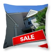 Real Estate Sold Sign And Townhouse Throw Pillow by Olivier Le Queinec