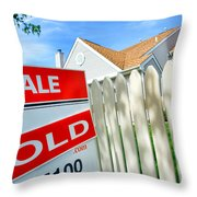 Real Estate Sold Sign Throw Pillow by Olivier Le Queinec
