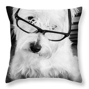 Really Portait Of A Westie Wearing Glasses Throw Pillow