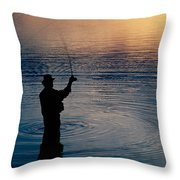 Rear View Of Fly-fisherman Silhouetted Throw Pillow