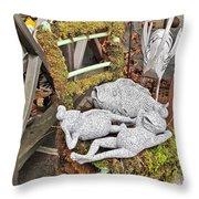 Reclining Amphibians And A Bird Throw Pillow