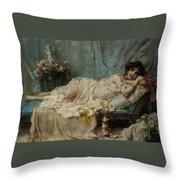 Reclining Beauty Throw Pillow