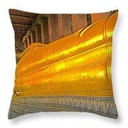 Reclining Buddha In Wat Po In Bangkok-thailand Throw Pillow