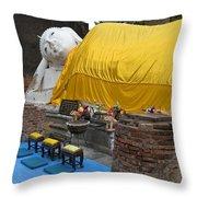 Reclining Buddha Monument Throw Pillow