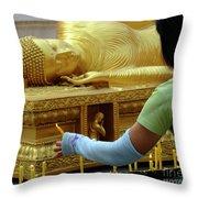 Reclining Buddha Prayer Candles Throw Pillow