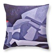 Reclining Gray Throw Pillow