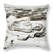 Reclining Nude Study Resting At The Beach Throw Pillow