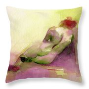 Reclining Woman Magenta Green And Orange Watercolor Painting Throw Pillow by Beverly Brown
