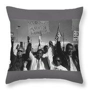Recognize Martin Luther King Day Rally Tucson Arizona 1991 Black And White Throw Pillow
