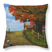 Recreation On A Fall Day Throw Pillow