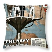Recruiting Poster - Britain - Navy Wants Men Throw Pillow