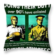 Recruiting Poster - Britain - Rugby Throw Pillow