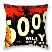 Recruiting Poster - Ww1 - Australian Promise Throw Pillow