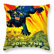 Recruiting Poster - Ww1 - Join The Tank Corps Throw Pillow