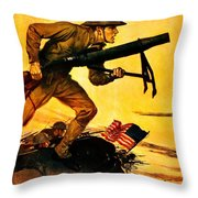 Recruiting Poster - Ww1 - Marines Over The Top Throw Pillow