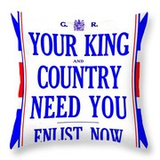 Recruiting Poster - Britain - King And Country Throw Pillow