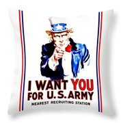 Recruiting Poster - Ww1 - I Want You Throw Pillow