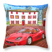 Enzo Ferrari S Garage With 1995 Ferrari 512m Throw Pillow