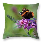 Red Admiral Butterfly On Butterfly Bush Throw Pillow