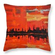 Red Amazon Sunset Throw Pillow