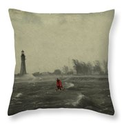 Red Among The Waves Throw Pillow