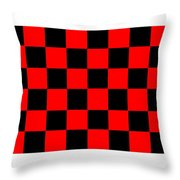 Red And Black Checkered Flag Throw Pillow