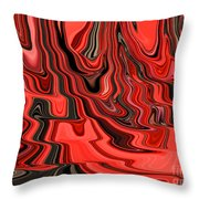 Red And Black Flowing Abstract Throw Pillow