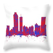 Red And Blue Art Print Of The Skyline Of Atlanta Georgia Usa Throw Pillow