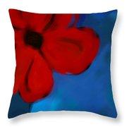 Red And Blue -flower -art Throw Pillow