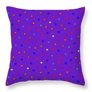 Red And Blue Polka Dots On Purple Fabric Background Throw Pillow