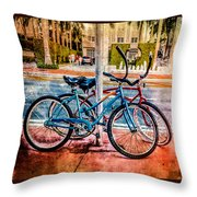 Red And Blue Rides Throw Pillow
