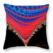 Red And Blue Shawl  Throw Pillow