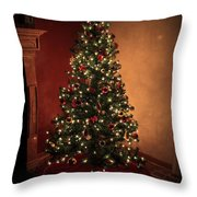 Red And Gold Christmas Tree With Caption Throw Pillow