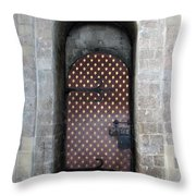 Red And Gold Door Throw Pillow