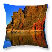 Red And Gold In The Sea Throw Pillow