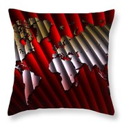 Red And Gold World Map Throw Pillow