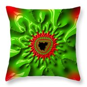 Red And Green Abstract Fractal Art Throw Pillow