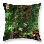 Red And Green Foliage Throw Pillow