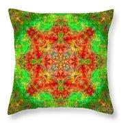 Red And Green Sun Mandala Throw Pillow