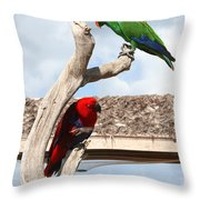 Red And Green Parrots Throw Pillow