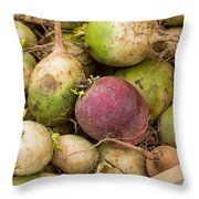 Red And Green Radishes Throw Pillow
